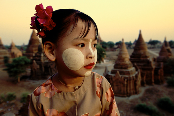 Girl Wearing Thanaka Face Paint